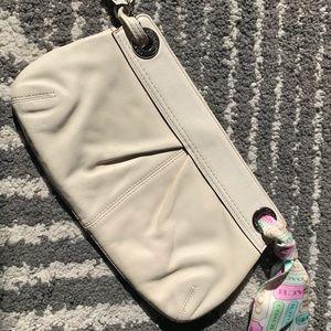 Coach cream wristlet clutch with signature scarf